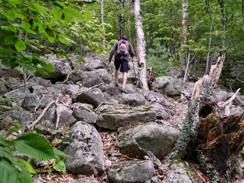 Rich ascends the Goat Trail steps.